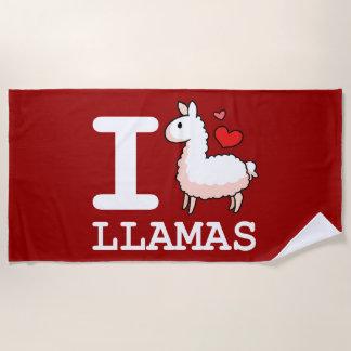 I Llama Llamas Beach Towel