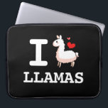 "I Llama Llamas Computer Sleeve<br><div class=""desc"">Display your undivided,  undiminished,  undisputed love for llamas for all the world to see. You can also experiment with the background color. It doesn&#39;t have to be red or black. Try purple if you want,  have fun! That&#39;s what llamas are for.</div>"
