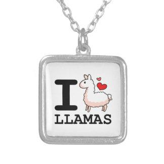 I Llama Llamas Square Pendant Necklace