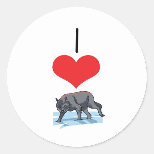 I lobos del corazón (amor) pegatina redonda