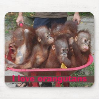 I Loe Orangutans Cute Babies Mouse Pad
