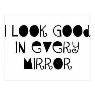 I look good mirror postcard