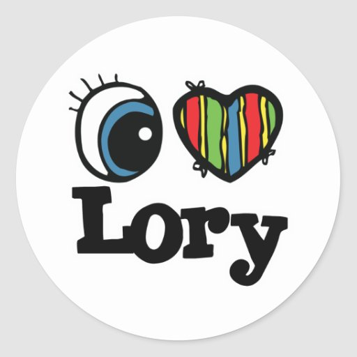 I Lory del corazón (amor) Etiqueta Redonda