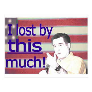 """""""I lost by this much!"""" Blue Text Postcard"""