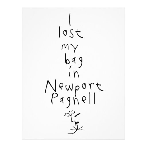 I lost my bag... letterhead