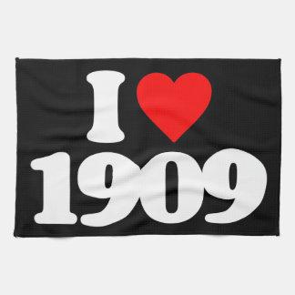 I LOVE 1909 HAND TOWELS