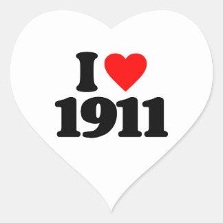 I LOVE 1911 HEART STICKER