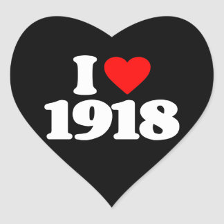 I LOVE 1918 HEART STICKER