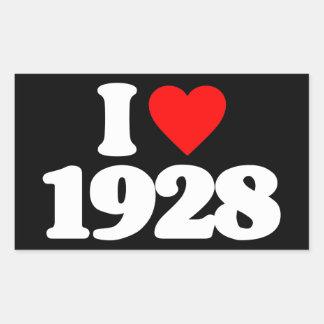 I LOVE 1928 RECTANGULAR STICKER