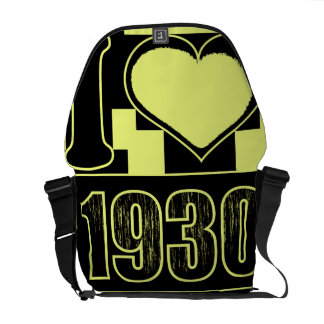 I love 1930 - Yellow black vintage - Messenger Bag