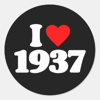 I LOVE 1937 CLASSIC ROUND STICKER