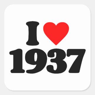 I LOVE 1937 SQUARE STICKER