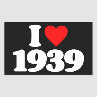 I LOVE 1939 RECTANGULAR STICKERS