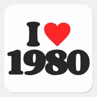 I LOVE 1980 SQUARE STICKER
