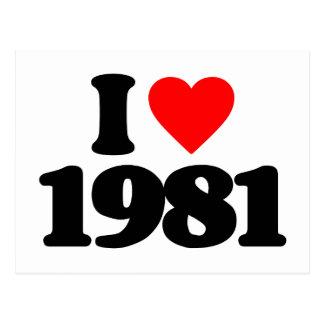 I LOVE 1981 POSTCARD