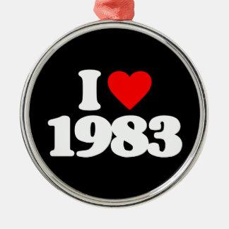 I LOVE 1983 CHRISTMAS TREE ORNAMENTS