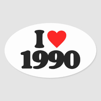 I LOVE 1990 OVAL STICKERS
