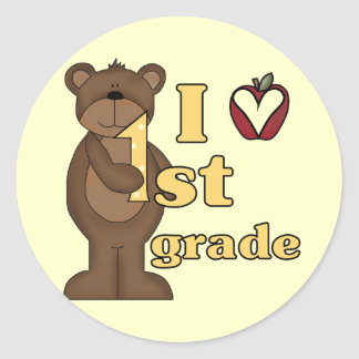 I Love 1st Grade Tshirts and Gifts Classic Round Sticker