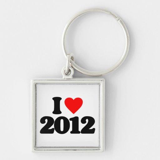 I LOVE 2012 Silver-Colored SQUARE KEYCHAIN