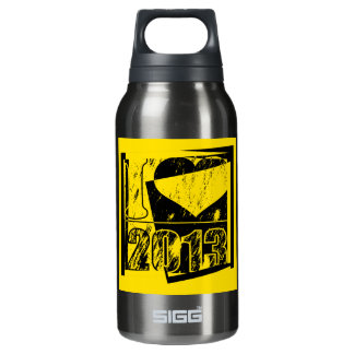 I love 2013 - Yellow, black Vintage - Insulated Water Bottle