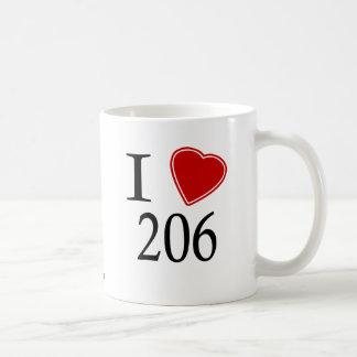I Love 206 Seattle Coffee Mug