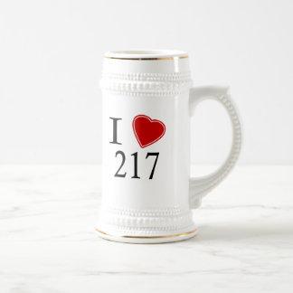 I Love 217 Springfield 18 Oz Beer Stein