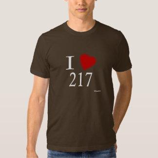 I Love 217 Springfield T Shirts