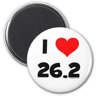I Love 26.2 2 Inch Round Magnet