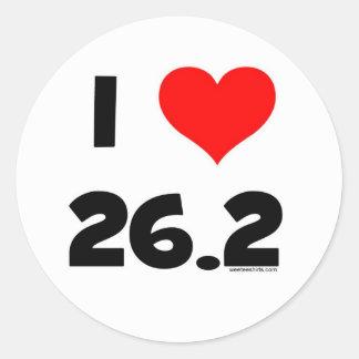 I Love 26.2 Classic Round Sticker