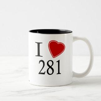 I Love 281 Houston Two-Tone Coffee Mug