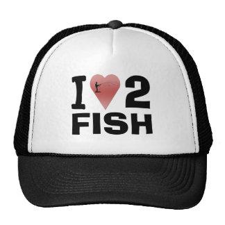 I Love 2 Fish Ball Cap Trucker Hat