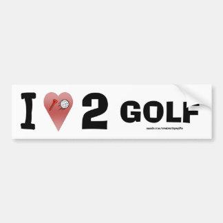 I Love 2 Golf Bumper Sticker