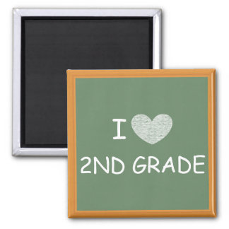I Love 2nd Grade 2 Inch Square Magnet