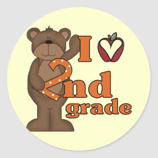 I Love 2nd Grade Tshirts and Gifts Classic Round Sticker