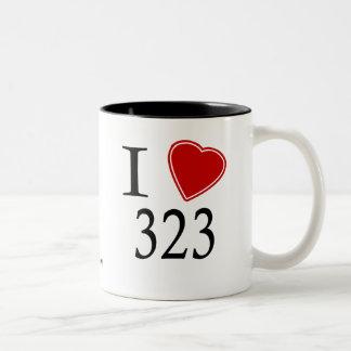 I Love 323 Los Angeles Two-Tone Coffee Mug