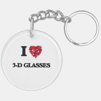 I love 3-D Glasses Double-Sided Round Acrylic Keychain