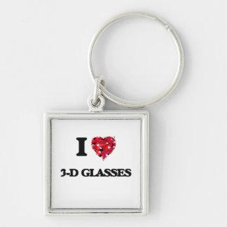 I love 3-D Glasses Silver-Colored Square Keychain