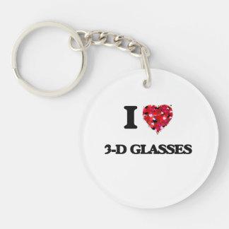 I love 3-D Glasses Single-Sided Round Acrylic Keychain