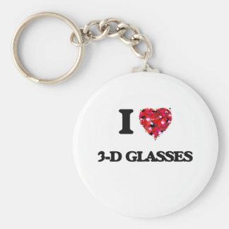 I love 3-D Glasses Basic Round Button Keychain