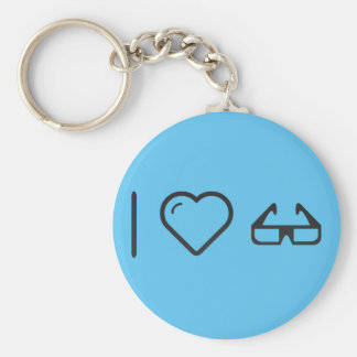 I Love 3d Glasses Basic Round Button Keychain