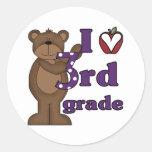 I Love 3rd Grade Round Sticker