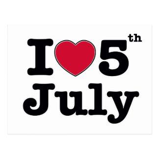 i love 3th july my birtday postcard