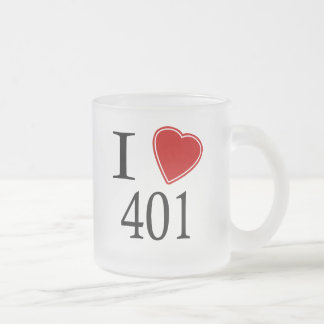 I Love 401 Providence Frosted Glass Coffee Mug