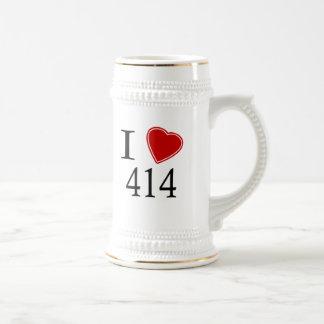 I Love 414 Milwaukee Beer Stein