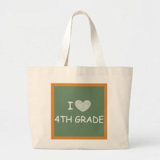 I Love 4th Grade Canvas Bags