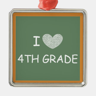 I Love 4th Grade Square Metal Christmas Ornament