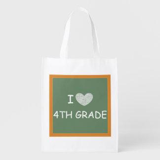 I Love 4th Grade Reusable Grocery Bag