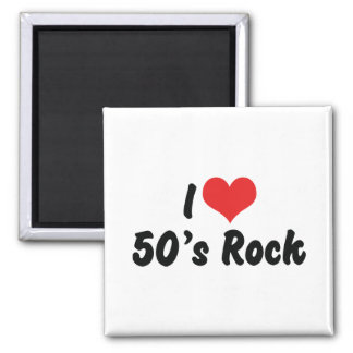 I Love 50's Rock Music 2 Inch Square Magnet
