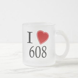 I Love 608 Madison Frosted Glass Coffee Mug