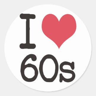 I Love 60s Vintage & Retro Designs! Classic Round Sticker